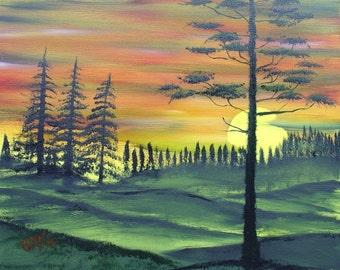 Sunset Pines Framed Oil Painting Alba Ranch Landscape