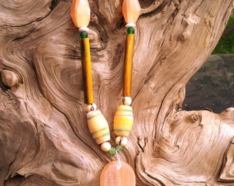 Peach Selenite and African Glass Beads Necklace
