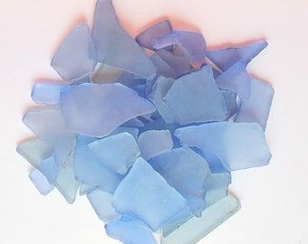 Beach Wedding Decor Bulk Sea Glass, Bulk Seaglass, Nautical Decor Bulk Beach Glass, Blue Sea Glass, Blue Beach Glass MED BLUE, 2 Lbs