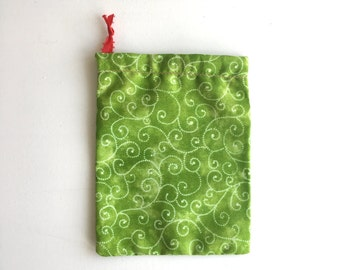 Green swirly tarot bag, neato and festive