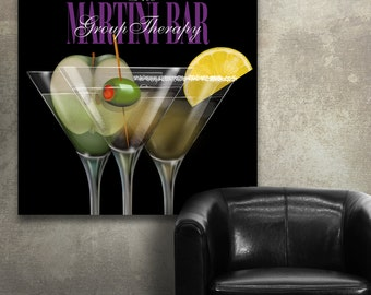 Martini Bar Group Therapy Canvas Gallery Wrapped Wall Decor
