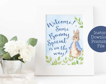 Some Bunny Special Baby, Peter Rabbit Baby Shower, Baby Shower Decorations, Peter Rabbit Welcome Sign, Printable, Blue, INSTANT DOWNLOAD