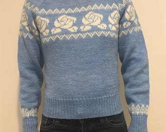 Vintage blue sweater with rose detail