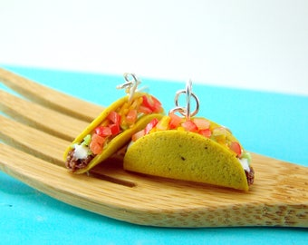 Food Earrings // Taco Earrings // MADE TO ORDER // Fast Food Jewelry // Dangly Earrings