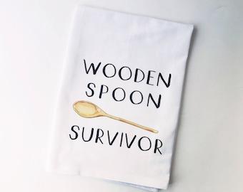 Wooden Spoon Survivor | Flour Sack Towel | Gifts under 10