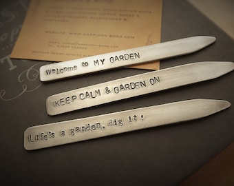 Set of Garden Markers, Hand Stamped Garden Tags, Garden Gift, Aluminium Plant Tags, Gardening Gifts, Personalised Gift