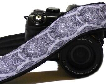 Gray Owls Camera Strap. Personalized Camera Strap. Padded Camera Strap. DSLR Camera Strap. Canon, Nikon Camera Strap. Photo Accessories.