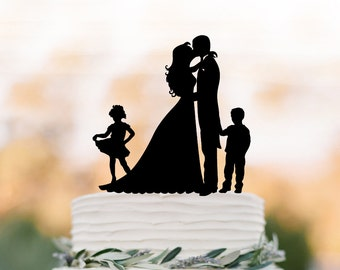 Funny Wedding Cake topper with twins, bride and groom cake topper with girl and with boy, unique custom cake topper for wedding