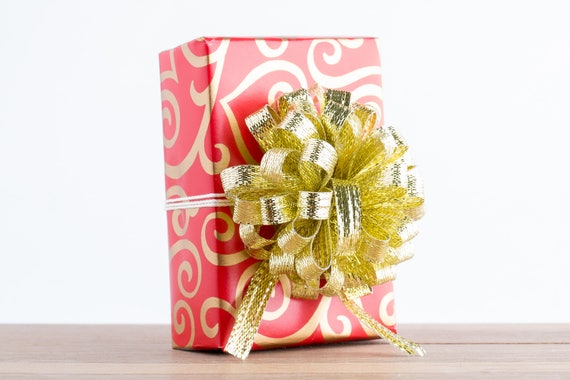 Gift Wrapping Service Add On - Red and Gold Scrolled Hearts Gift Wrapping