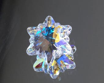 Swarovski Crystals - 18mm Edelweiss Flower/Snowflake Pendant - Crystal AB -  SPARKLY! - Sold Individually (#734)