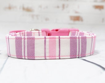 Female Purple and Pink Striped Dog Collars, Girly Preppy Pink Pet Collar, Puppy Modern Trendy Martingale or Metal Buckle Available