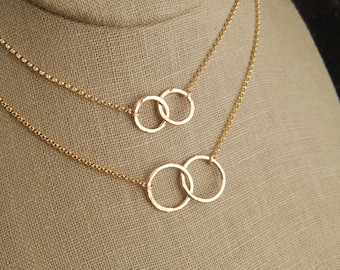 Gold filled hammered circle links and gold filled necklace, hammered rings, gold linked circles, entwined rings, connected