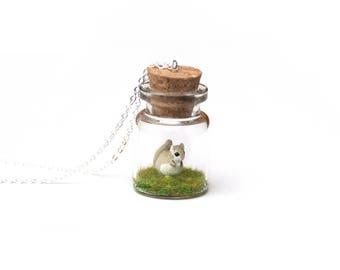 Ezo Momonga Necklace - miniature Japanese flying squirrel, terrarium necklace, kawaii, Asia collection, tiny glass bottle, wildlife gift