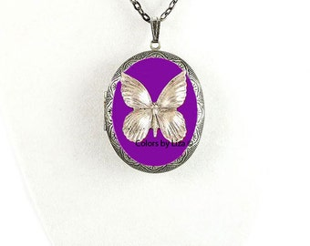 Butterfly Pill Box Necklace Inlaid in Hand Painted Purple Enamel Antique Silver Oval Locket Necklace with Color and Personalized Options