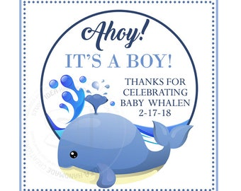 "Custom Printable Whale Baby Shower 2.5"" Tags-Thank you Printable Square Tags- Personalized Tags, DIY (You Print) 2.5"" tags-Digital file"