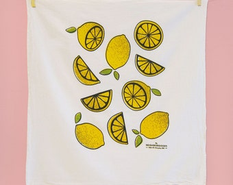 Kitchen towel, dish towel, tea towel, hostess gift, lemons