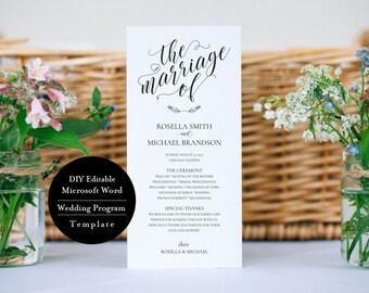 """Wedding Program Template, Printable Program, Rustic, Instant Download, 4""""x9"""", MSW184"""