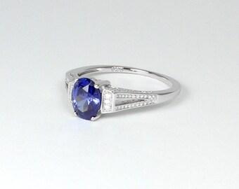 Tanzanite Ring Silver / Sterling Silver Tanzanite Ring / January Birthstone