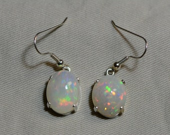 Opal Hook Earrings, Lively 10.98 Carat Solid Opal Cabochon Dangle Earrings Appraised at 2,850.00, Sterling Silver, Natural Opal Jewelry