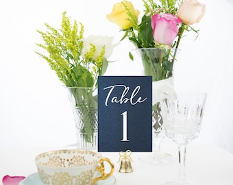 Elegant Navy Blue and White Table Numbers Handmade Wedding, also in Gold, Copper, or Silver Foil #0123