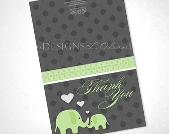 Loving Green Elephants Thank You - DIY Printable - INSTANT DOWNLOAD
