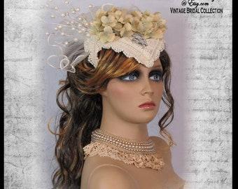 STEAMPUNK BRIDAL Head Piece Bridal FASCINATOR Victorian Bridal Veil