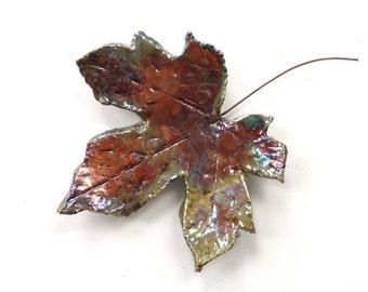 Ceramic leaf wall art ~ ceramic leaf, raku leaves hanging wall decoration, boho leaf art sculpture, woodland gift for her