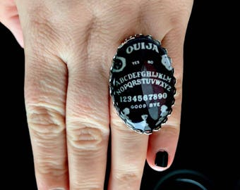 Ouija board, Ouija ring, gothic ring, occult ring, witchcraft ring, magical ring, Halloween ring, goth ring, alternative wedding, adjustable