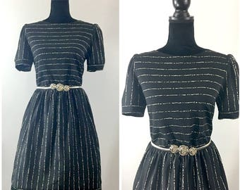 Andy Vintage Secretary Dress, Vintage Black Dress, Mad Men Dress, Zooey Deschanel Dress, 1960's Dress, Striped Vintage Dress, Vintage Size M