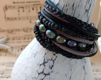 Boho Leather and Pearl Wrap Bracelet, Multi Strands of Leather and beads in shades of Natural  blacks, pearls and Picasso beads