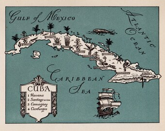 1940s Pictorial Vintage CUBA Map of Cuba Picture Map Print Beach House Decor Gallery Wall Art Gift for Boyfriend Birthday Gift