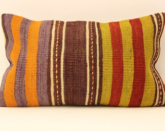 kilim pillow cover.12x20 Turkish handmade  decorative home design OE-9