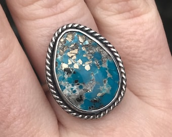 White Water Turquoise with Pyrite and Twisted Wire Sterling Silver Ring, US Size 7.25, Handmade