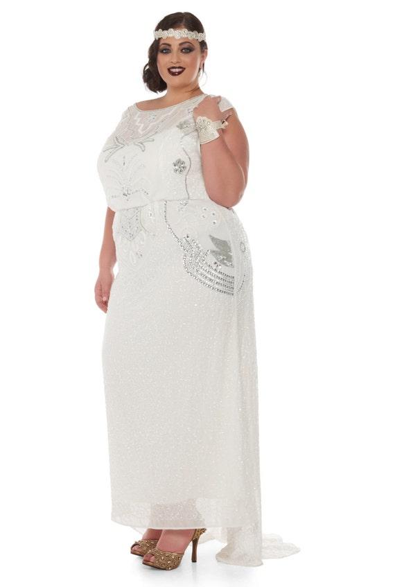 Plus Größe Isla Off weiß Art-Deco-Hochzeit Kleid Kleid Vintage