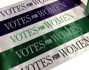 Votes for Women Sash - Adults Size Sash or Childrens Size Sash - Emmeline Pankhurst - Suffragettes Sashes