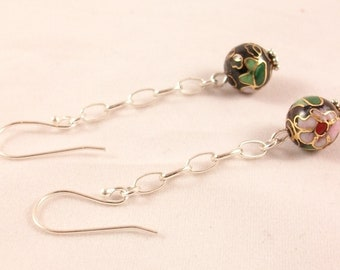 Chain, cloisonné bead, gift for woman earrings