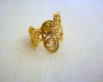 GOLD Filled  Ring handmade rings, filigree gold ring, flower ring, gold jewelry