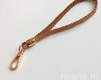 Leather wristlet strap / leather keychain / lanyard in natural braided leather, with rose gold clasp and bead.