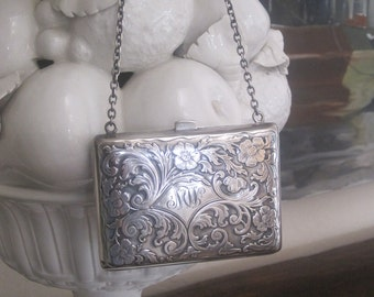 Victorian Sterling Silver Purse Change Purse Embossed Monogram Exceptional