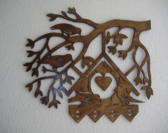 wood shadow branch birds nest