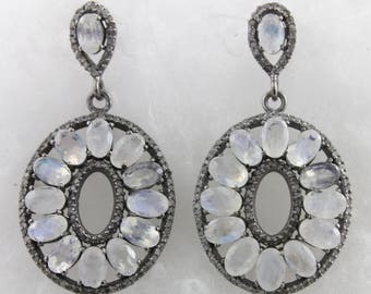 Pave Diamond Earrings, Pave Diamond & Rainbow Moonstone Earrings, Diamond Earrings, Rainbow Moonstone Earrings, Oxidized Silver, (DER-093)