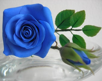 Set: Blue roses with leaves hair pins (3 pcs)