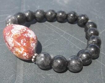 black Jadeite Ocean Jasper Bracelet: continue
