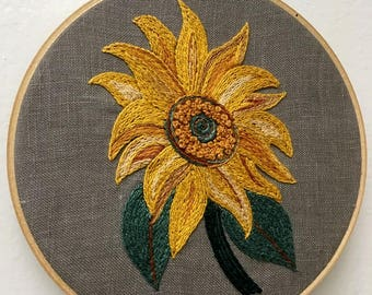 Embroidered Sunflower on Gray Linen