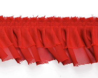 """2 Layers Ruffled Pleated Lace Trim by 2-yards, 2-3/8"""", Black, Dark Gray, Red, White, TR-10216"""