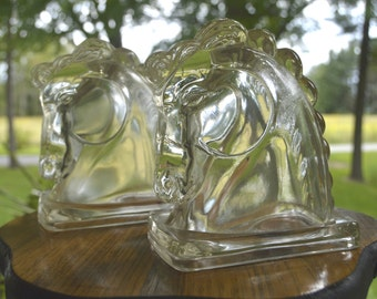 Vintage Glass Hollow Horse Head Bookends (Pair)
