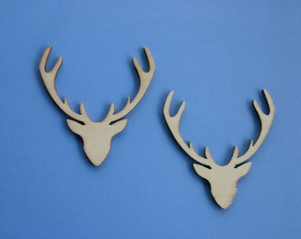 Wood Antler Shapes - Wooden Accessories- - Scrap booking - Card making - Craft supplies