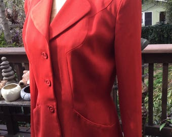 Vintage women's tailored red wool jacket blazer