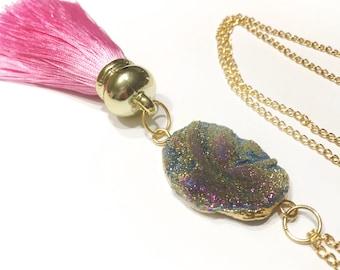 Druzy Tassel Necklace, Pink Tassel Necklace, Gold Tassel Necklace, Statement Necklace, Tassel Druzy Jewellery