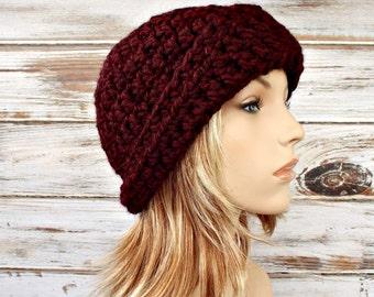 Crochet Hat Womens Hat 1920s Flapper Hat - Garbo Cloche Hat Oxblood Hat Wine Hat - Red Hat Burgundy Hat Womens Accessories Winter Hat